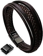 "Murtoo Leather Bracelet Magnetic-Clasp Cowhide Braided Multi-Layer Wrap Mens Bracelet,7"""