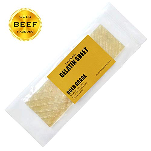 Haodong Beef Gold Leaf Gelatin Sheets - 200 Bloom (20 Sheets, 40g) - Gelatin Leaves for Baking and Cooking, Mousse Cake