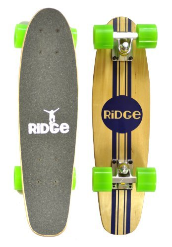 """Ridge Skateboards Complete 55cm Maple Wooden Retro 22"""" Mini Cruiser Board"""