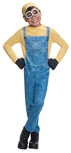 Boy's Minion Bob Outfit Funny Theme Fancy Dress Child Halloween Costume, Child M (8-10) Blue/Yellow -