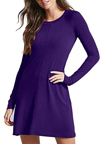 Sarin Mathews Womens Dresses Long Sleeve Round Neck Casual Flared Midi Dress Purple XL ()