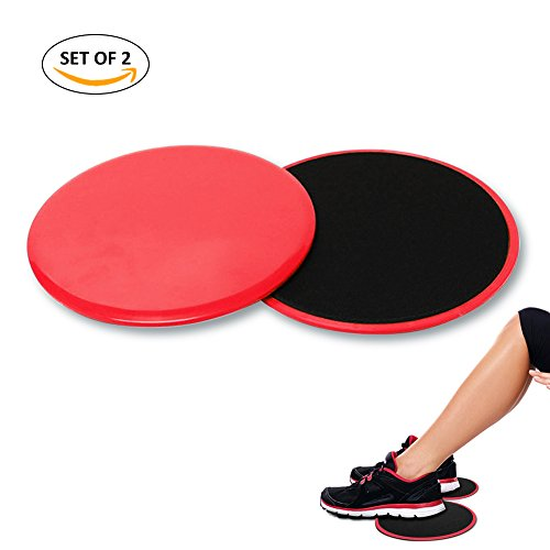 4-FQ Gliding Discs Core Workout Exercise Sliders 2 Dual Sided Gliding Sliding Discs for Core Fitness, Ultimate Core Trainer, Gym, Carpet and Hardwood Floors Home Abdominal Exercise Equipment