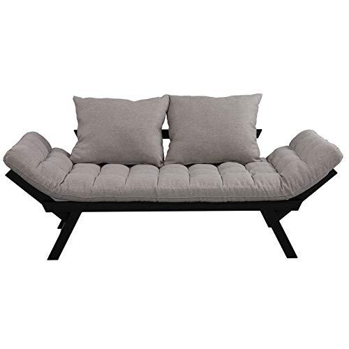 "HOMCOM Click Clack Couch, Convertible Futon Sleeper Sofa Bed, Modern, Linen Fabric, 61"" L Light Grey"