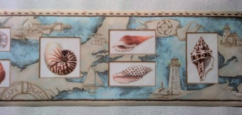 Wallpaper Border Nautical Map Sea Shells & Lighthouses Peach, Blue on Tan by The Wallpaper and Border Store