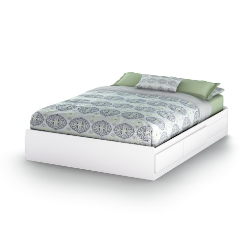 - South Shore Vito Mates Bed with 2 Drawers, Queen 60-inch, Pure White