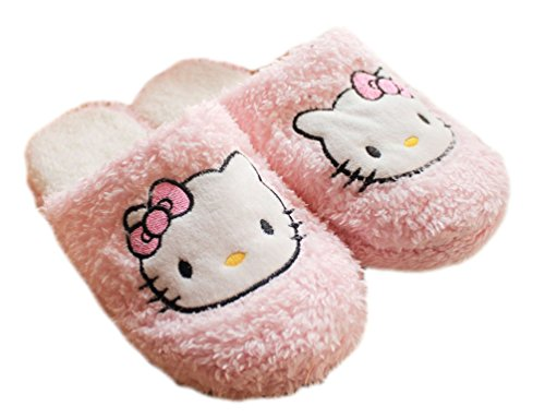 2015 New Lady Hellokitty Plush Soft Warm Autumn Winter Home Slippers 2 (Pink) -