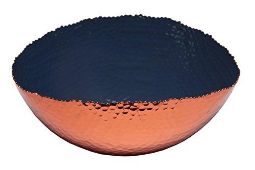 (Melange Home Decor Copper Collection, 12-inch Oval Bowl, Color - Navy)