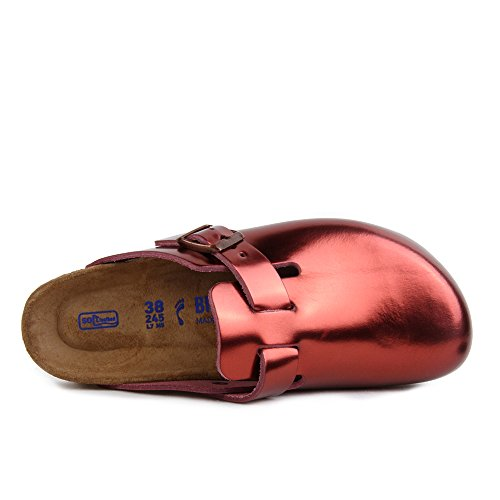 Birkenstock Boston Zuecos para Mujer Rouge (Metallic Tourmaline Soft Footbed)