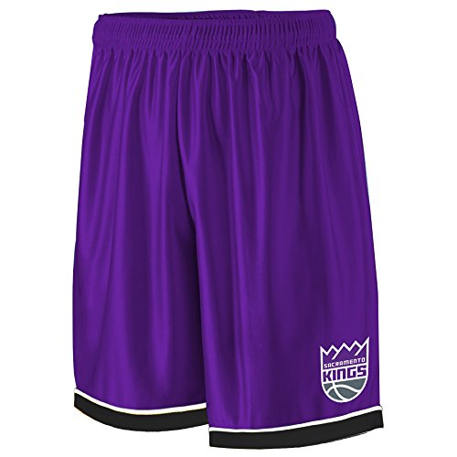 (NBA Sacramento Kings Adult men NBA Poly Shorts 2 Pocket,2X,Purple/blk)