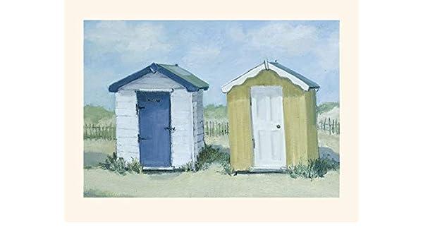 El Arte Grupo Jane Hewlett (Dos casetas de Playa) - diseño de 30 x 40 cm, Papel, 30 x 40 x 1,3 cm: Amazon.es: Hogar
