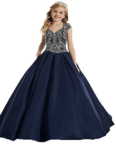 Beaded Bodice Gown - Little Girls'Pageant Dresses with V Neck Beaded Bodice A Line Party Gown 8 Navy Blue