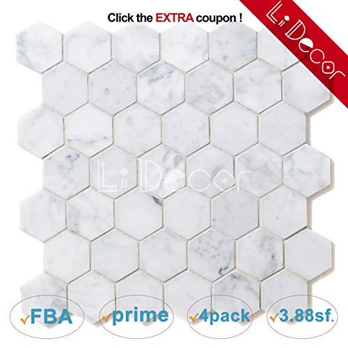 - Italian Carrara White Hexagon Honeycomb 2in Honed Carrera Marble Mosaic Tiles for Bathroom Kitchen Wall Floor Backspalsh Tiles by Li Decor