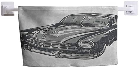 DayDayFun Bath Towel Cars Wrinkle-Resistant and Durable Hand Drawn Vintage VehicleDetailed Front Part Hood Lamps Rear View Mirror 10 x 10 Grey Blue Grey / DayDayFun Bath Towel Cars Wrinkle-Resistant and Durable Hand Drawn Vintage V...