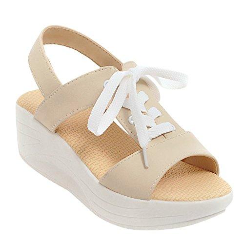 Carolbar Women's Stylish Concise Platform Mid Heel Lace Up Sandals Beige PSM8e