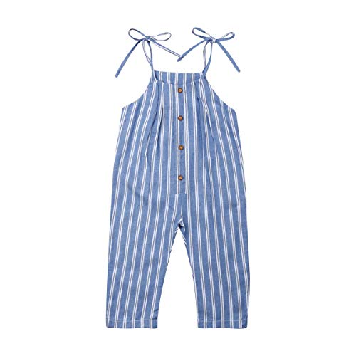 Kids Baby Girls Blue and White Stripe Romper Trousers Halter Buttons Jumpsuit Overalls Outfits (Blue, 3-4 Years)