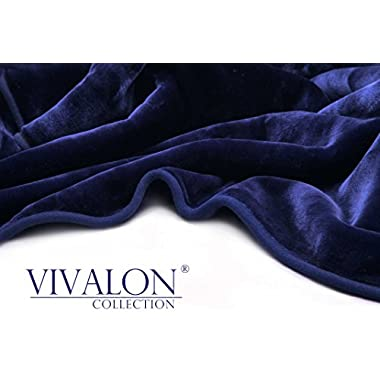 VIVALON Solid Color Ultra Silky Soft Heavy Duty Quality Korean Mink Reversible Blanket 9 lbs King Navy