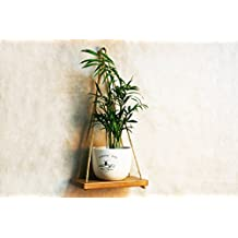 Decorative Wall Hanging Plant Shelf Dark 9x5 Inch Rustic Wood Pot Holder Indoor Flower Stand Wooden Swing Mounted Shelves for Living Room Bathroom Bedroom Home Decor Housewarming Gift