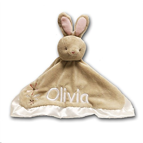 Monogram Baby Blanket - Personalized Bunny Rabbit Lil Snugglers Baby Snuggle Blanket - 13 Inches