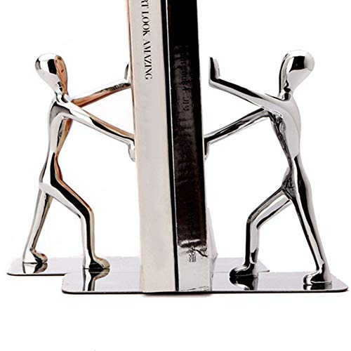 yanQxIzbiu Bookend Supports, Bookends for Shelves, 2Pcs Kung Fu Figurine Hand Push Decorative Metal Office Book Stand Organizer Holder Home Shelf Great Back to School Gift