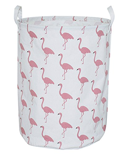 Decor Flamingos - CLOCOR Large Storage Bin-Cotton Storage Basket-Round Gift Basket with Handles for Toys,Laundry,Baby Nursery (White Flamingo)