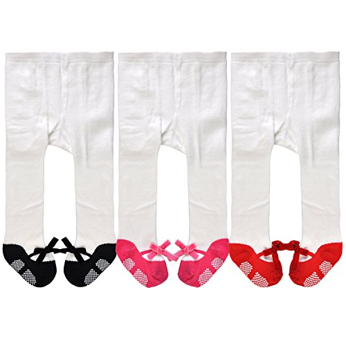 Epeius Little Kids Epeius Infants Baby Girls' Mary Jane Non-Skid Cotton Tights 2-4 Years,Festive Tights-Shoe Look- CorduroyFront Bows-Anti slip,White and Black/Fuchsia/Red (Pack of 3) from EPEIUS