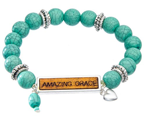 Amazing Jewelry (Jewelry Nexus Blue Bead Inspirational Message Amazing Grace Stretch Bracelet)