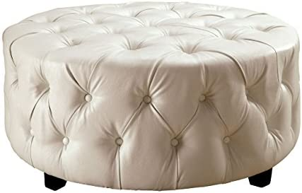 Furniture of America Reyna Contemporary Round Tufted Ottoman, White