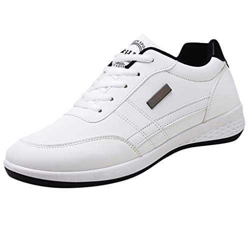 Men Breathable Lace Up Shoes, Walking Casual Shoes Running Shoes White