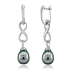 Sterling Silver 10-10.5mm Black Baroque Tahitian Cultured Pearl Infinity Dangle Earrings
