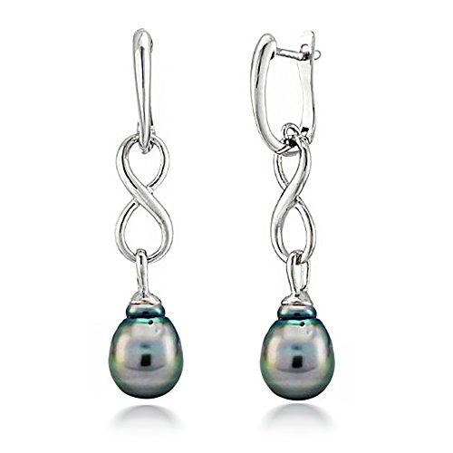 Sterling Silver 10-10.5mm Black Baroque Tahitian Cultured Pearl Infinity Dangle Earrings (Earrings Designer Tahitian)