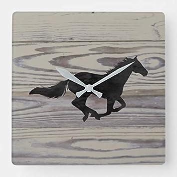 Ninguna marca rústica de madera de caballo galopante silueta cuadrada, reloj de pared