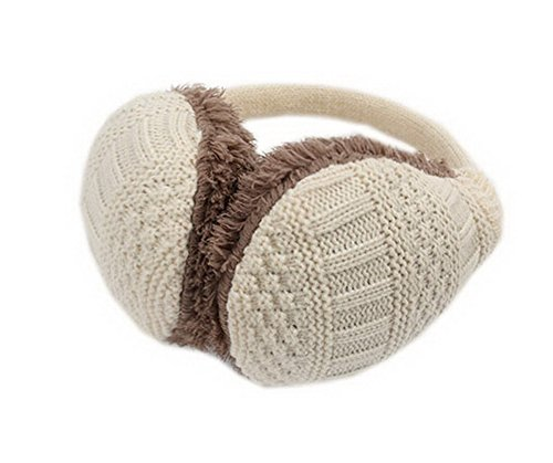 Beige Knitted Earmuff for Womens, Detachable Ears Protector