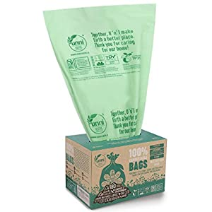 UNNI ASTM D6400 100% Compostable Trash Bags, 13 Gallon, 49.2 Liter, 50 Count, Heavy Duty 0.85 Mils, Tall Kitchen Trash Bags, Food Waste Bags, US BPI and Europe OK Compost Home Certified, San Francisco 105