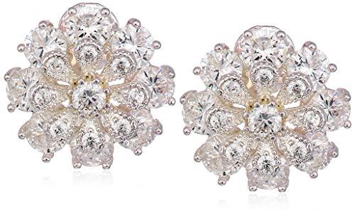 Anne Klein Women's Silver/Crystal CZ Flower EZ Comfort Clip Button Earrings, Size 0