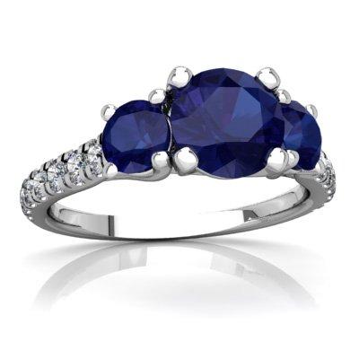 (14K White Gold Lab Sapphire and Diamond Round Pavé Trellis Ring - Size 6.5)