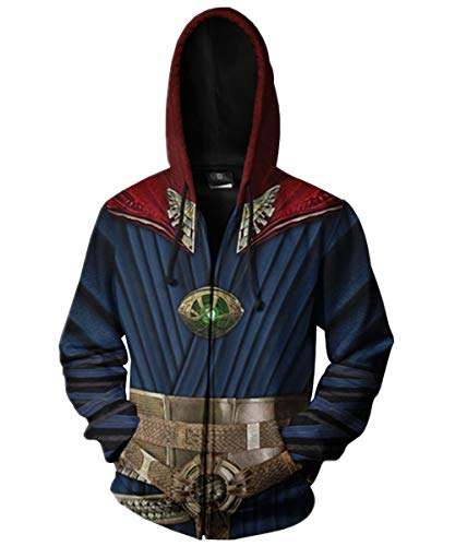 Super Hero Hoodie Super Hero Costume Creative Fashion Sweater Halloween Costume (M, Doctor Zip Up)