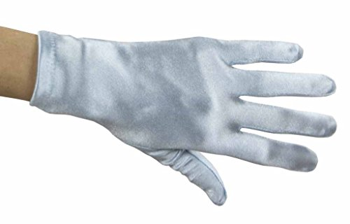 (Beautiful Wrist Length Short Satin Gloves in 34 Colors Assorted Glove Colors: Light Blue )
