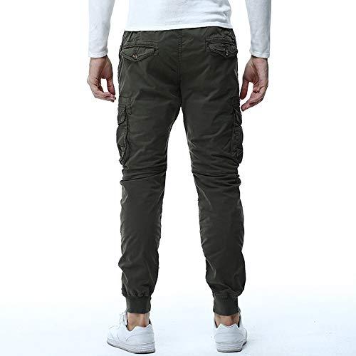 De Ejercito Pantalones Cremallera Casual Recto bolsillo hombres Multi Combate Cintura Trabajo Verde Pantalón Hombre Para Suelto Cargo ZdqdrT