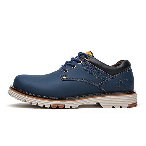 Do.bomrvii Mens Casual Chaussures En Cuir Lacent Appartements 4 Couleurs Bleu