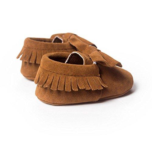 Clode® Baby Girl Kleinkind Turnschuhe Freizeitschuhe bowknot Quasten weiche alleinigen Schuhe Prinzessin Schuhe (11/0~6Monat, Kaffee)