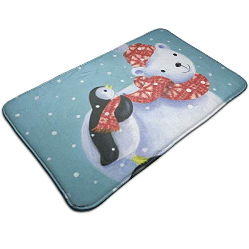 AZOULA Merry Christmas Polar Bear Penguin Indoor Outdoor Doormat Welcome Doormat Bathroom Mats (Machine-Washable/Non-Slip) 31.5