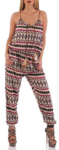 malito Jumpsuit largo en el moderno Diseño una Pieza 016-23 Mujer Talla Única Beige