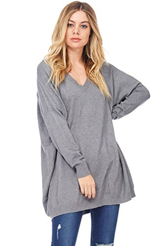 (Alexander + David Womens Basic Oversized V-Neck Sweater Pullover Tunic (Charcoal, Small/Medium))