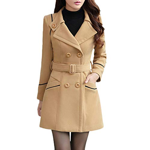 Woaills-Tops 2018 Women Elegant Long Sleeve Work Office Jacket,Ladies Wool Double Breasted Coat (3XL, Khaki)