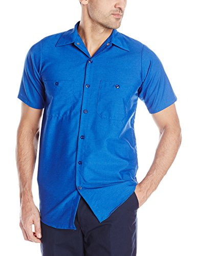 (Red Kap Men's Industrial Work Shirt, Regular Fit, Short Sleeve, Royal Blue, Medium )