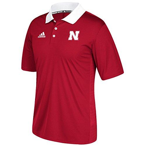 adidas NCAA Nebraska Cornhuskers Adult Men NCAA Sideline Coaches Polo, X-Large, Power Red (Adidas Polo Shirt Sideline)