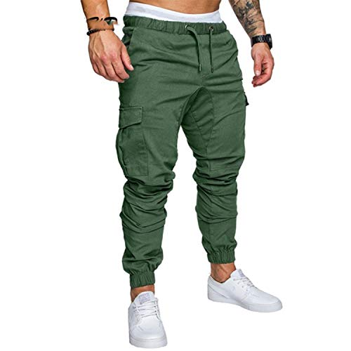 (New Pants Hip Hop Harem Joggers Male Trousers Mens Joggers Solid Multi-Pocket Pants Sweatpants 4XL jun lv 4XL)
