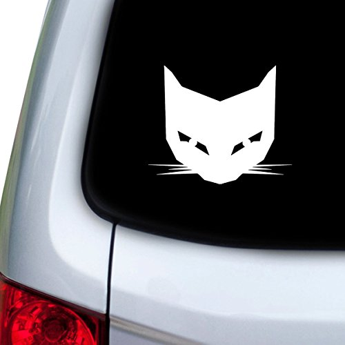 [StickAny Car and Auto Decal Series Evil Cat Face Sticker for Windows, Doors, Hoods (White)] (Vinyl Cat Hood)