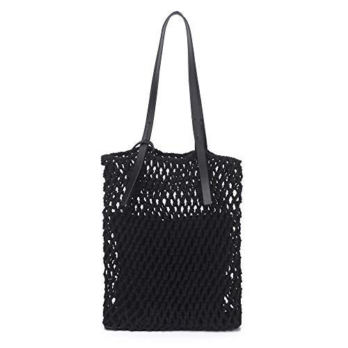 Womens Classic Straw Summer Beach Sea Shoulder Bag Handbag Tote (Black)