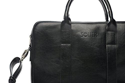 Solier para hombre piel auténtica bolsa de hombro portátil Macbook Premium edynburg SL20 negro 40 x 30 x 5 cm negro